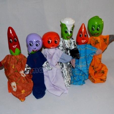 mainan edukatif - boneka tangan kayu - sayur
