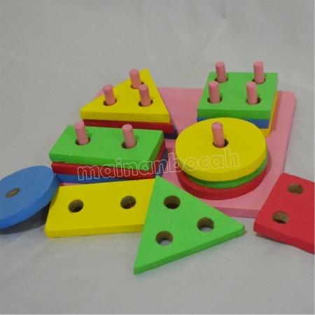 mainan edukatif - menara geometri 4 bentuk