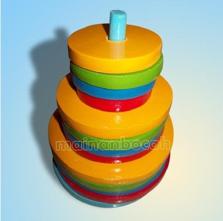 mainan edukatif - menara pelangi bundar