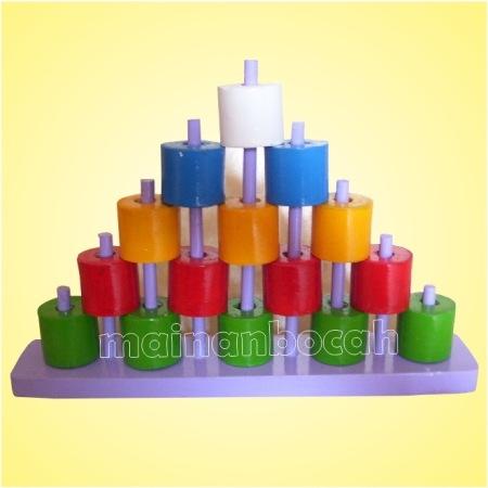 mainan edukatif - menara silinder stupa